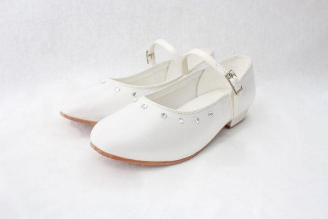 Girls Visara Satin Shoes in White-0