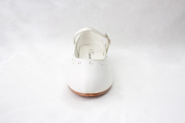 Girls Visara Satin Shoes in White-942