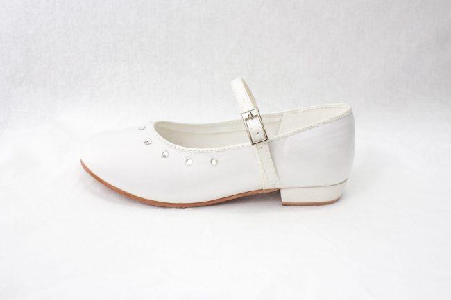 Girls Visara Satin Shoes in White-941
