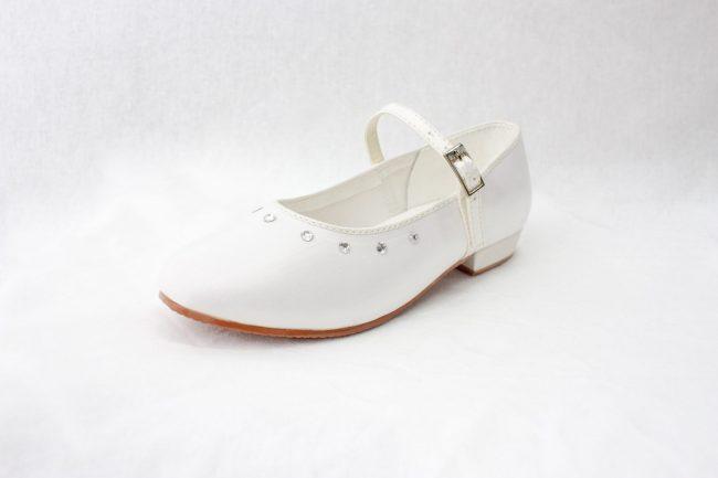 Girls Visara Satin Shoes in White-944