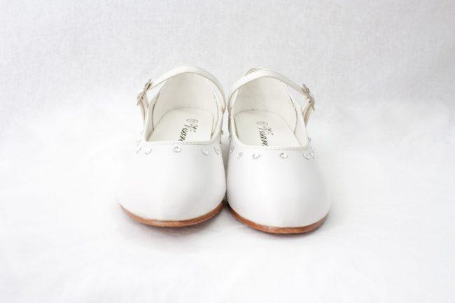 Girls Visara Satin Shoes in White-945