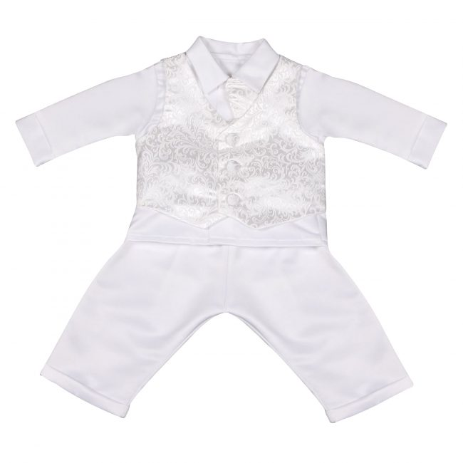 Boys Vivaki Paisley Christening Suit in White-95