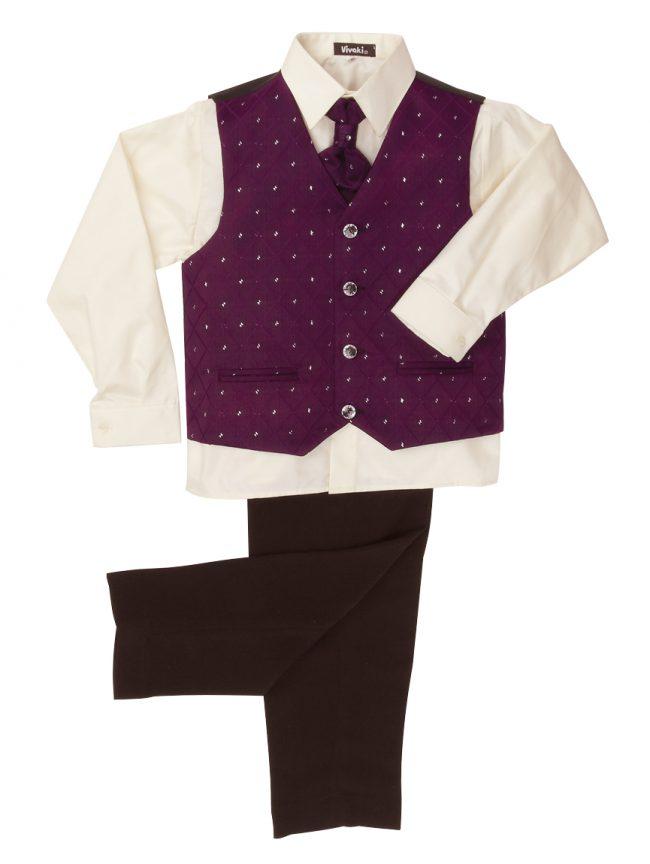 Vivaki 4 Piece Dobby Suit in Purple-56