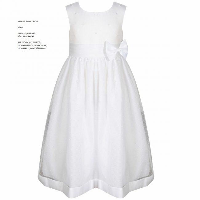 Visara Bow Dress In White V340-14