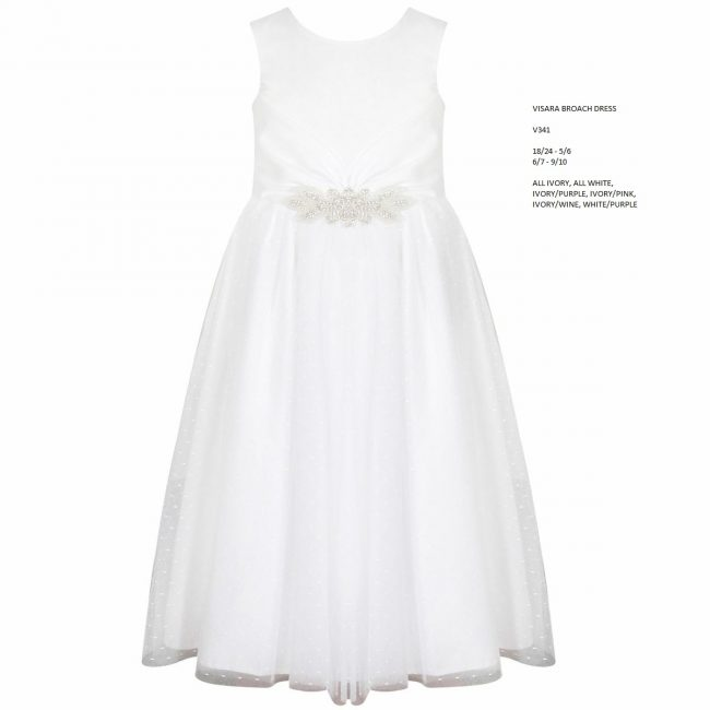 Visara Broach Dress In White V341-19
