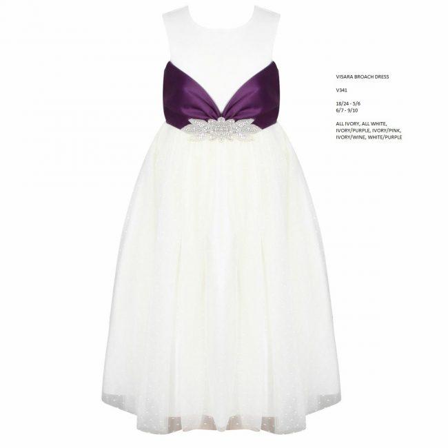 Visara Broach Dress In Purple V341-16