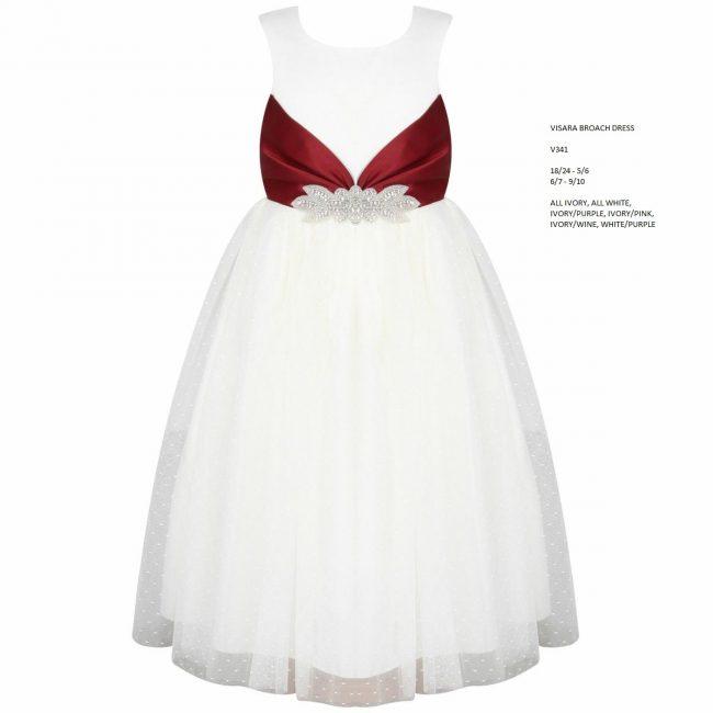 Visara Broach Dress In Wine V341-15
