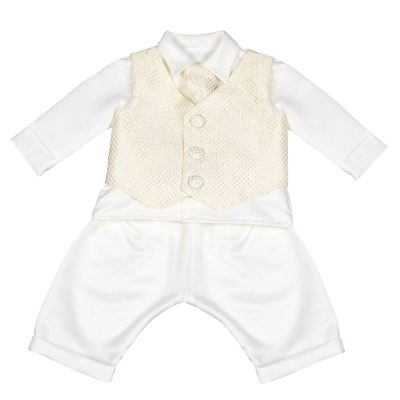 Boys Vivaki Checked Christening Suit in Gold-0