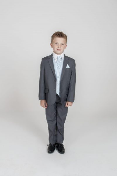 5pc Grey Diamond Suit in Blue-0