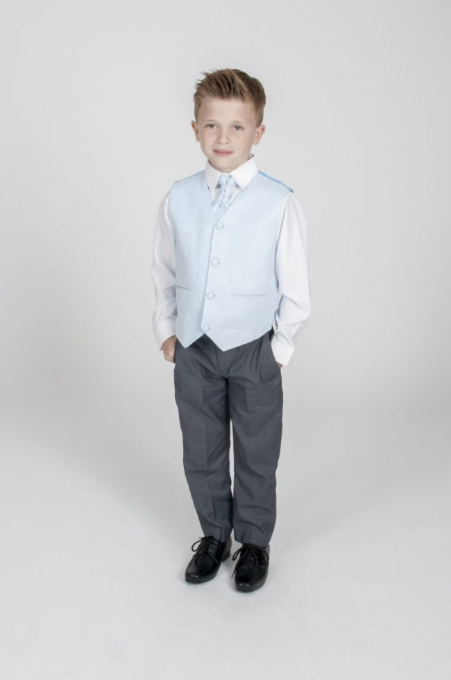 4pc Grey Diamond Suit in Blue-0