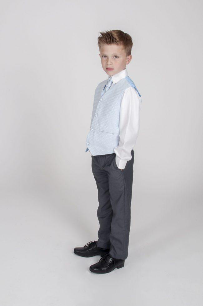4pc Grey Diamond Suit in Blue-771
