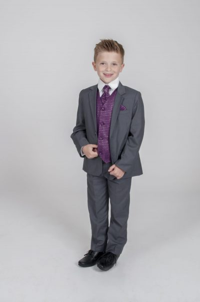 5pc Grey Diamond Suit in Purple-0