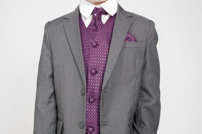 5pc Grey Diamond Suit in Purple-738
