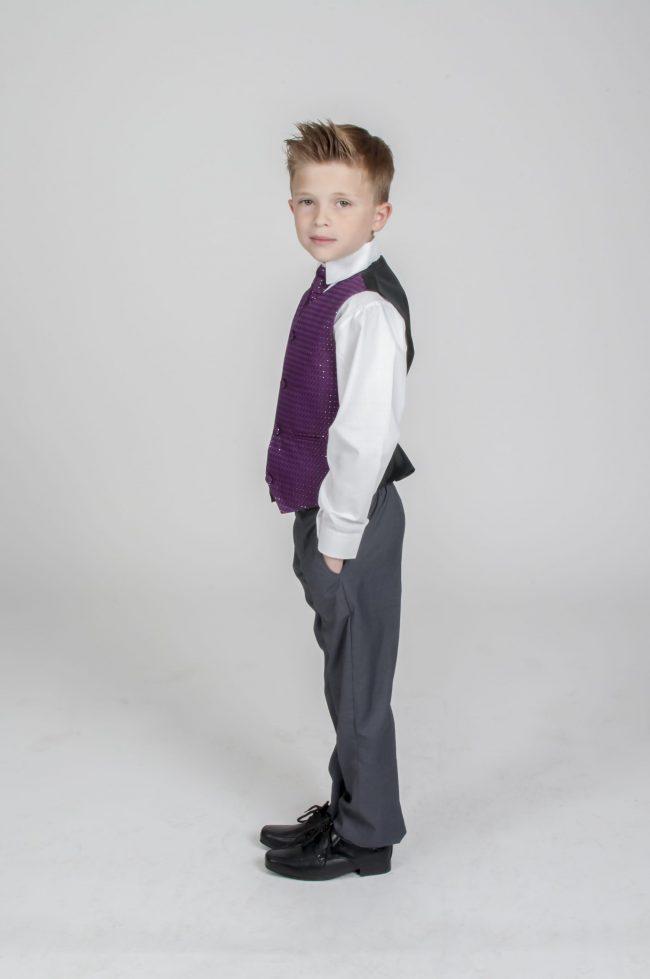 5pc Grey Diamond Suit in Purple-741