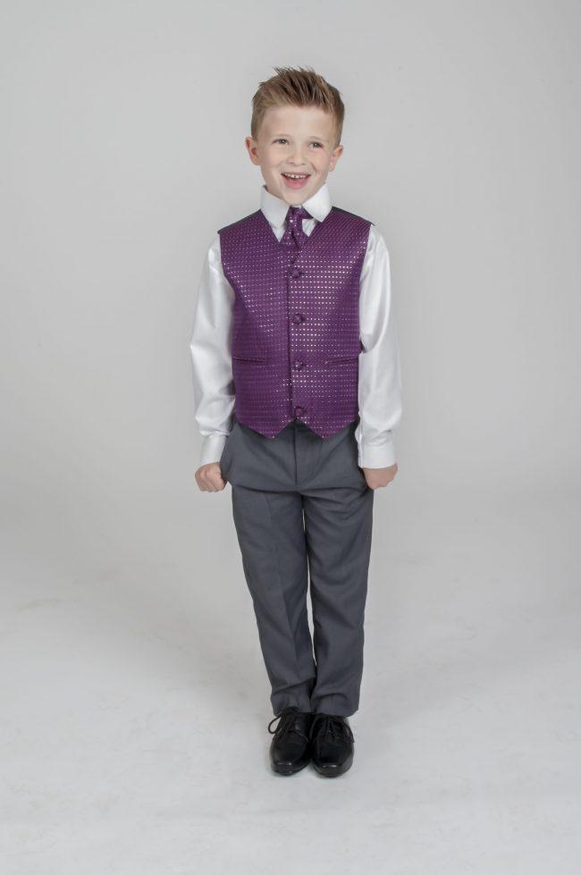 5pc Grey Diamond Suit in Purple-742