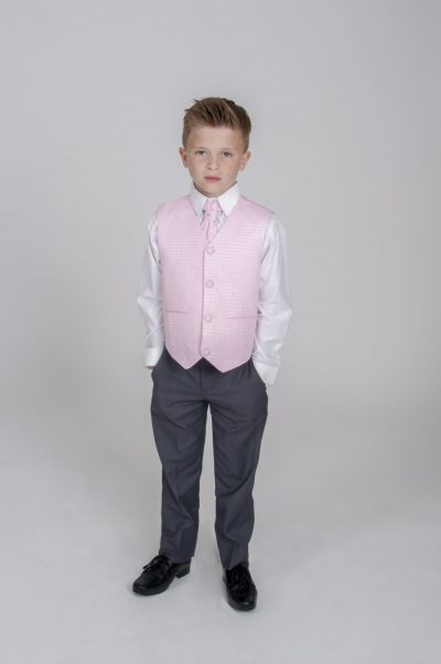4pc Grey Diamond Suit in Pink-0