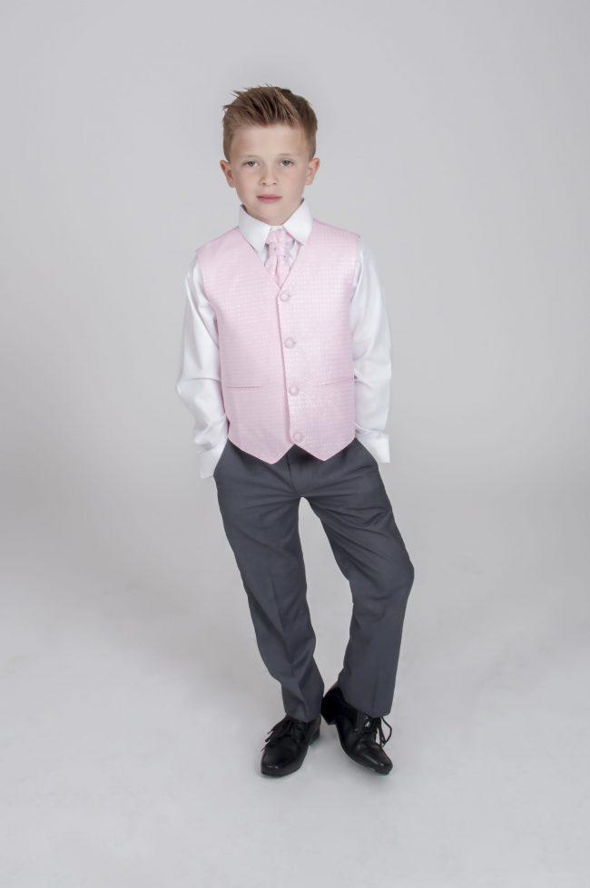 4pc Grey Diamond Suit in Pink-696