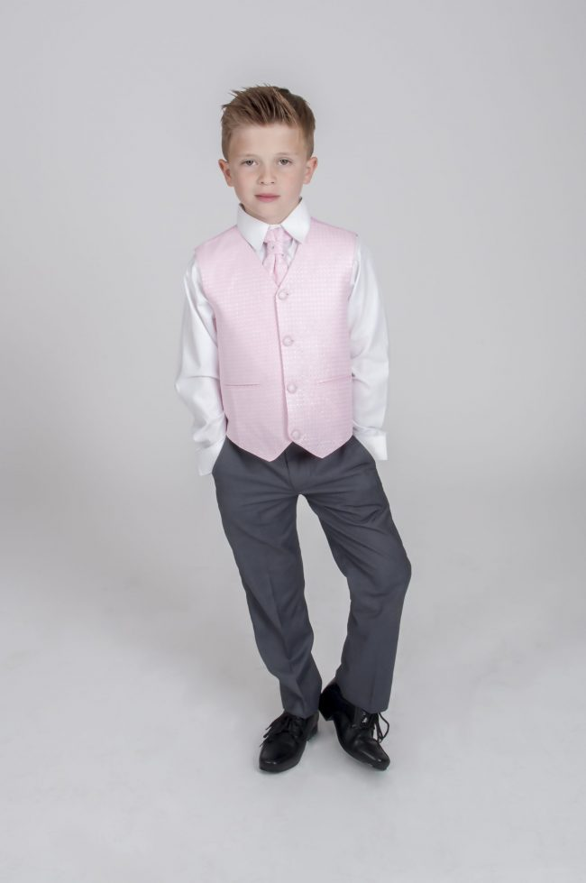 5pc Grey Diamond Suit in Pink-721