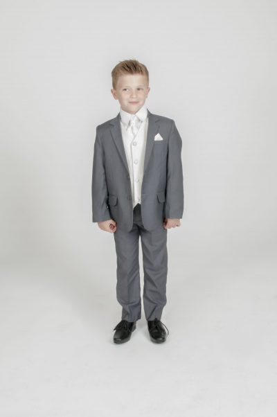 5pc Grey Diamond Suit in Cream-0