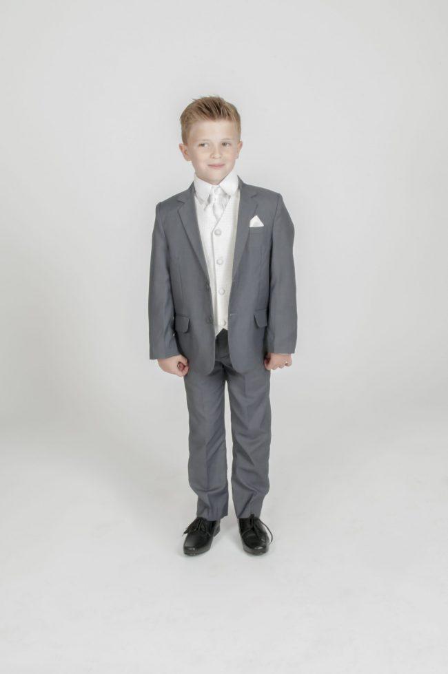 5pc Grey Diamond Suit in Cream-0