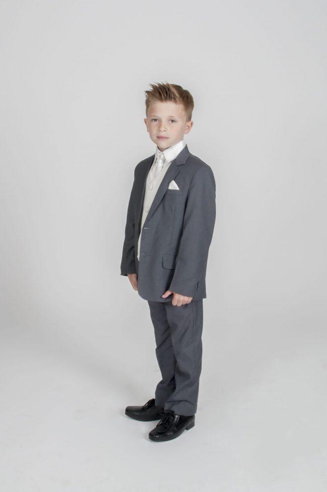 5pc Grey Diamond Suit in Cream-808