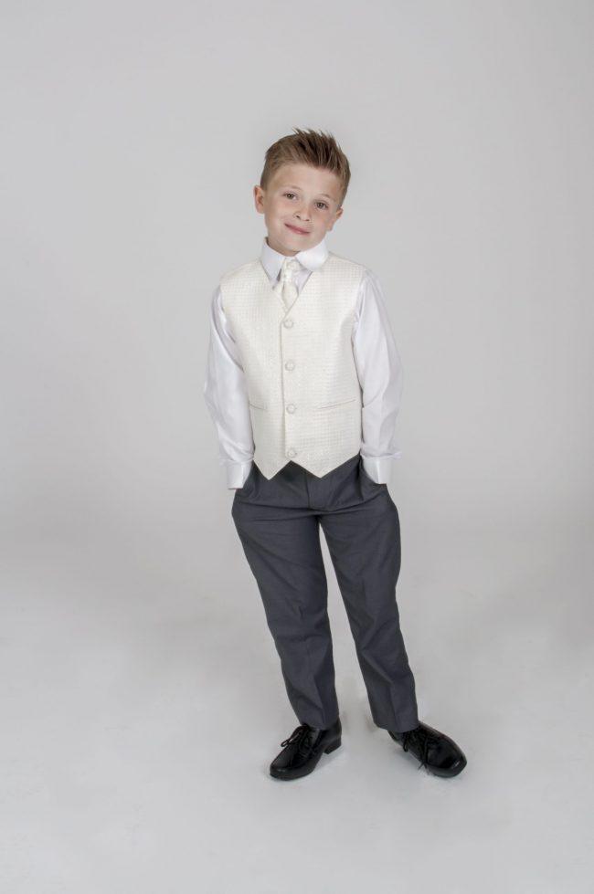 5pc Grey Diamond Suit in Cream-805