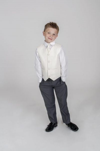 4pc Grey Diamond Suit in Cream-0
