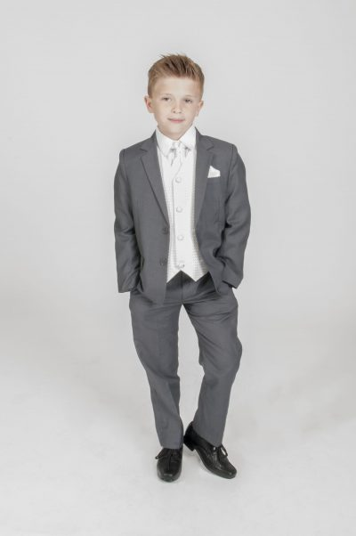 5pc Grey Diamond Suit in Ivory-0