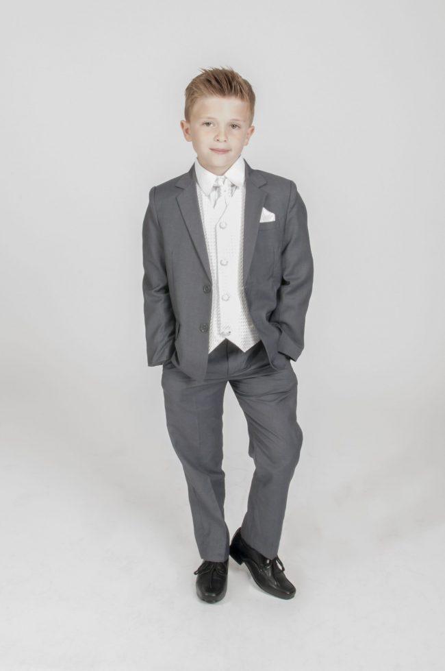 5pc Grey Diamond Suit in Ivory-0