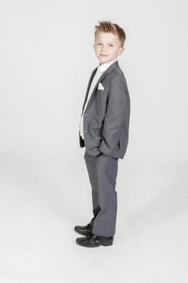 5pc Grey Diamond Suit in Ivory-634