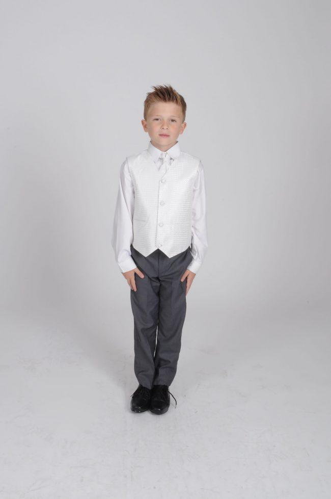 5pc Grey Diamond Suit in Ivory-635