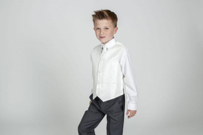 4pc Grey Diamond Suit in Ivory-619