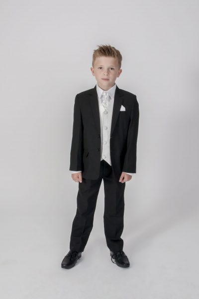 5pc Black Diamond Suit in Ivory-0