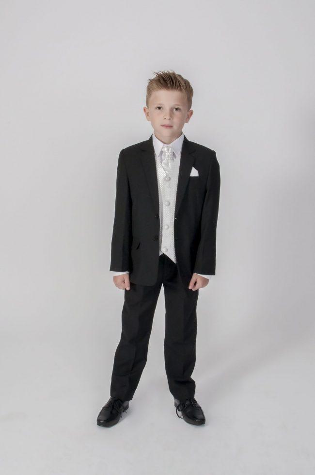 5pc Black Diamond Suit in Ivory-0