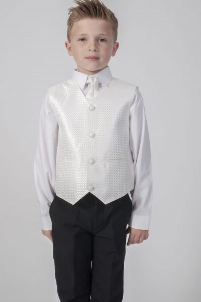 4pc Black Diamond Suit in Ivory-0