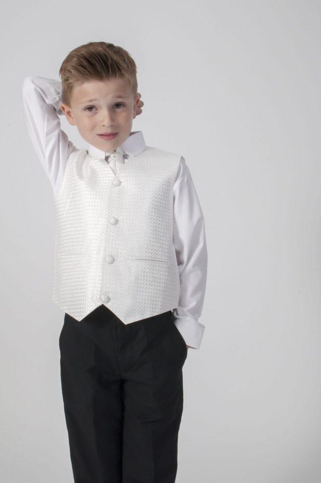 4pc Black Diamond Suit in Ivory-605