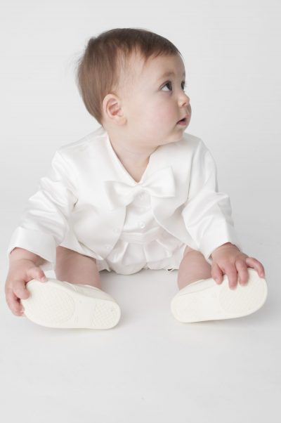 Boys Vivaki Plain Christening Romper in Ivory-0