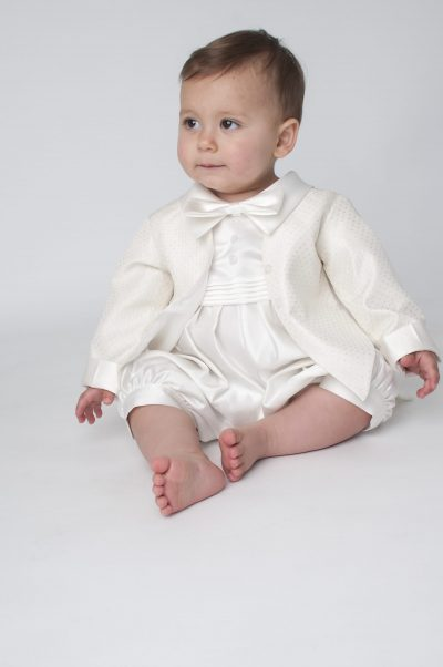 Boys Vivaki Diamond Christening Romper in Ivory-0