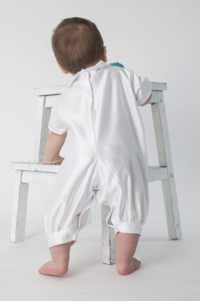 Boys Vivaki Plain Christening Romper in White-524