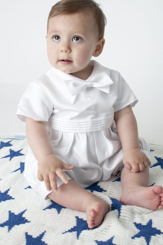 Boys Vivaki Plain Christening Romper in White-521