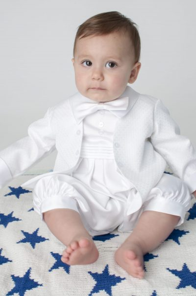 Boys Vivaki Diamond Christening Romper in White-0