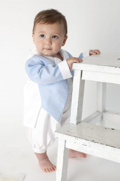 Boys Vivaki Diamond Christening Romper in Blue-0