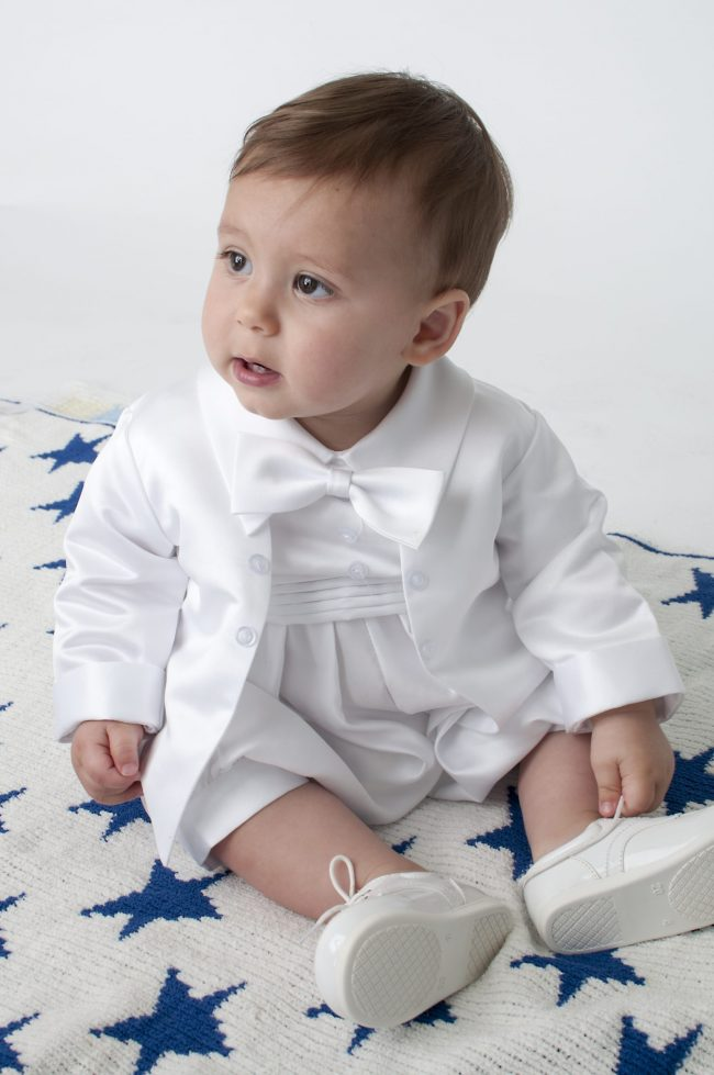 Boys Vivaki Plain Christening Romper in White-0