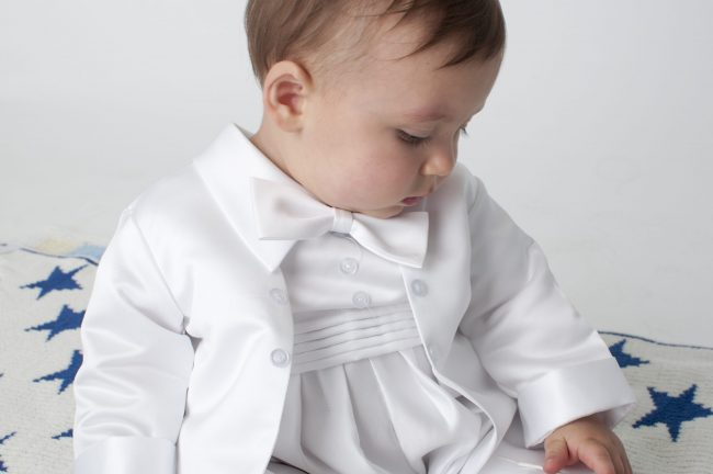 Boys Vivaki Plain Christening Romper in White-523
