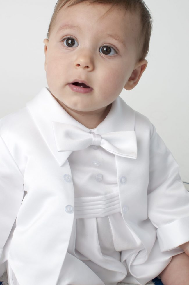 Boys Vivaki Plain Christening Romper in White-520
