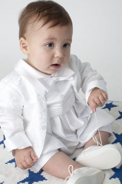 Boys Vivaki Paisley Christening Romper in White-0