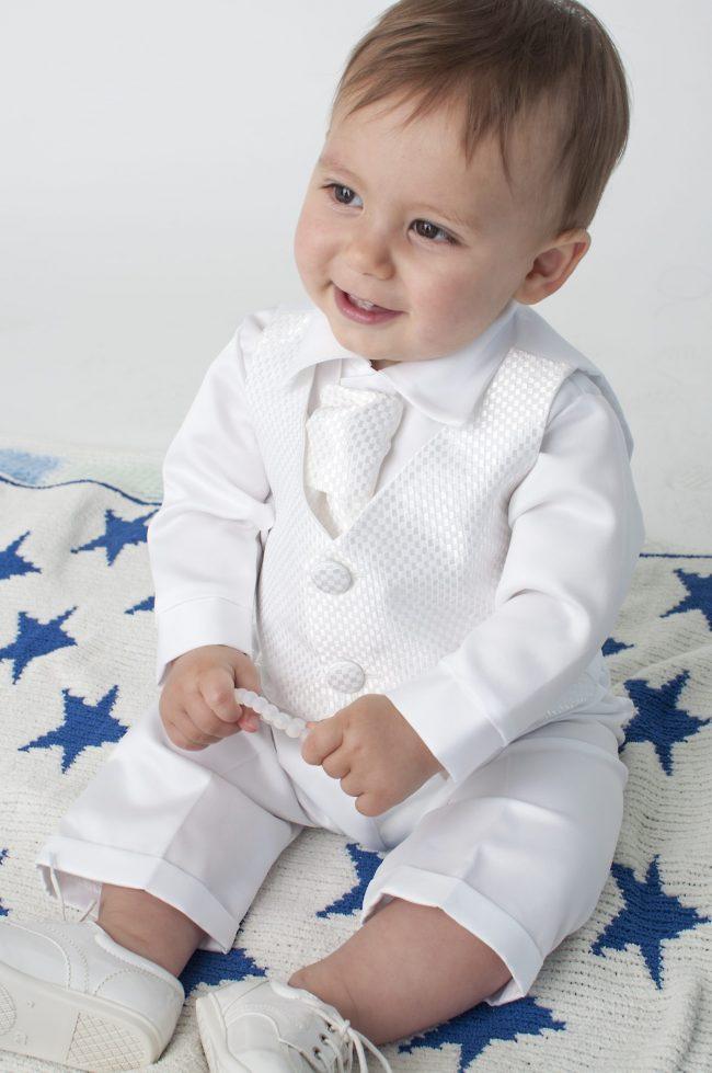 Boys Vivaki Checked Christening Suit in White-514
