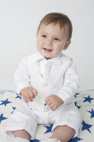 Boys Vivaki Checked Christening Suit in White-0