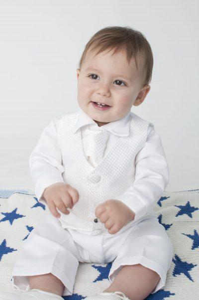 Boys Vivaki Checked Christening Suit in White-0