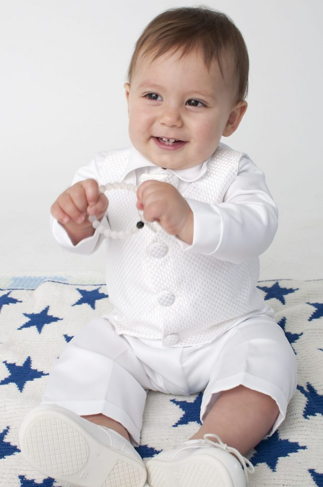 Boys Vivaki Checked Christening Suit in White-510